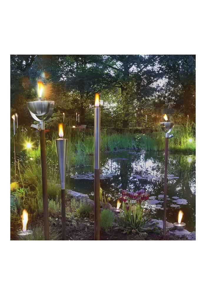 Lampe à huile de jardin en Inox sur piquet TECK
